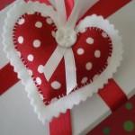 Polka Dot Plushy Heart Ornament