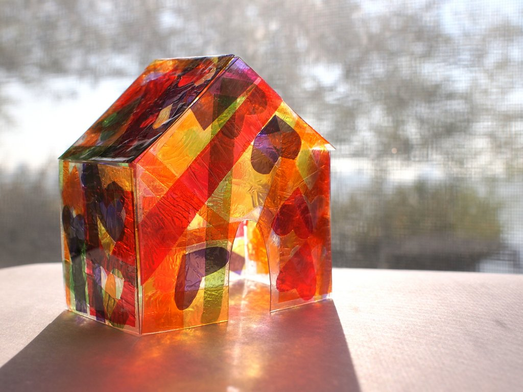 Tissue Paper Stained Glass House