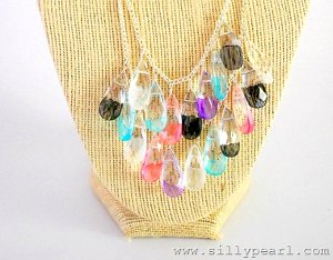 PaintedGlassStatementNecklace
