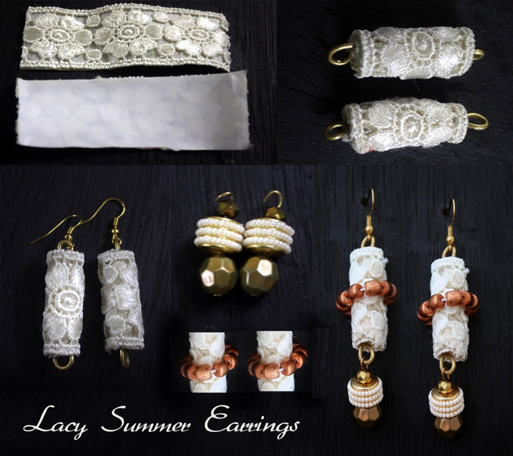 DIY lacy summer earrings
