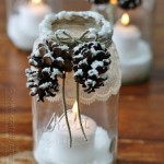 Frosted Pine Cone Jar