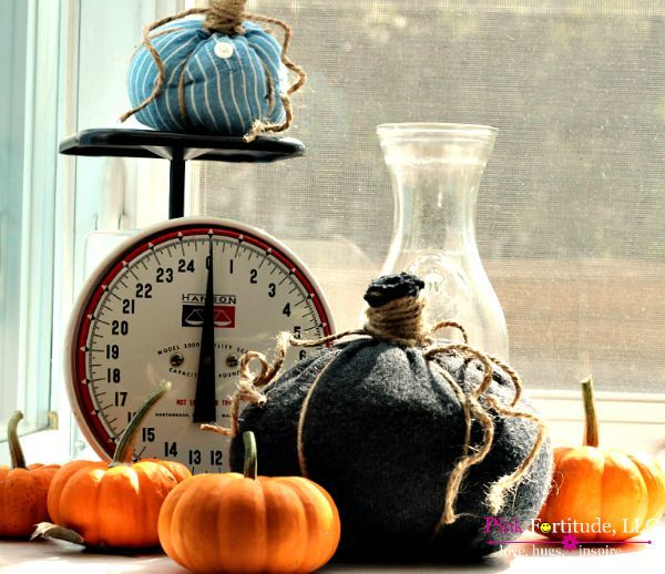 New Sew Repurposed Fabric Pumpkins