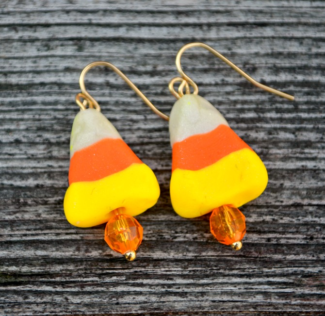 Candy Corn Polymer Clay Earrings