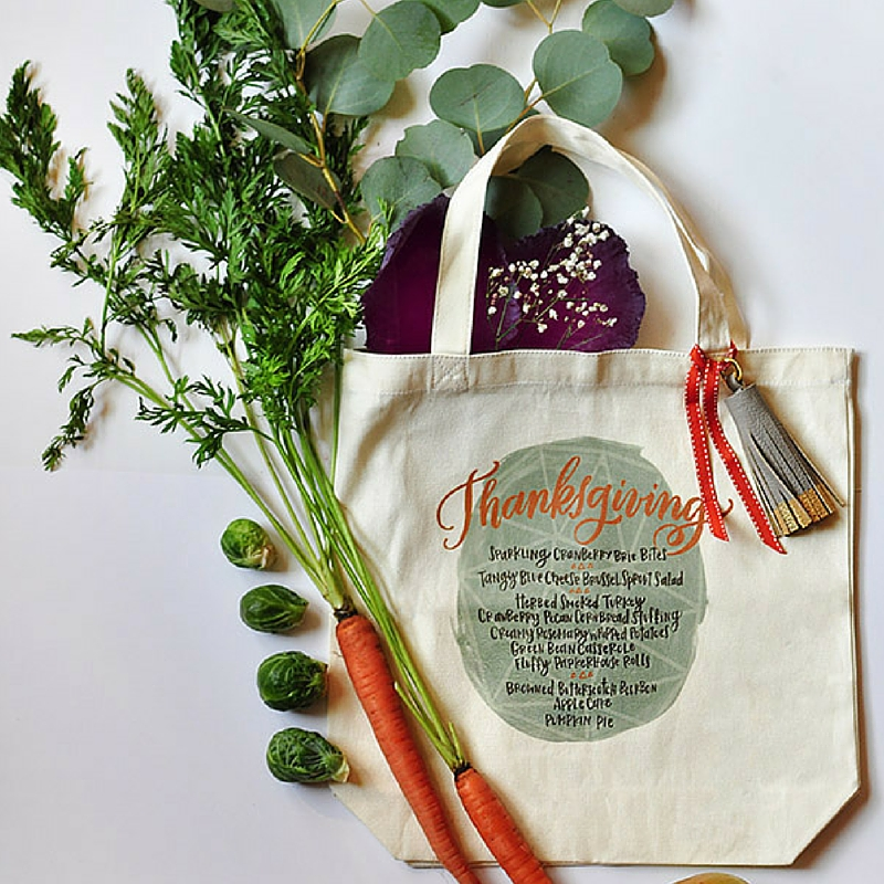 Thanksgiving Menu Tote Bag