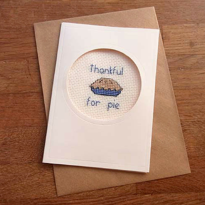 Thankful for Pie Cross Stitch Pie Card