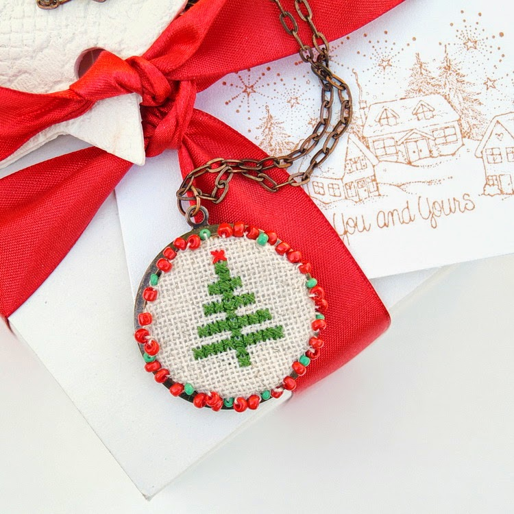Christmas Tree Cross Stitch Necklace
