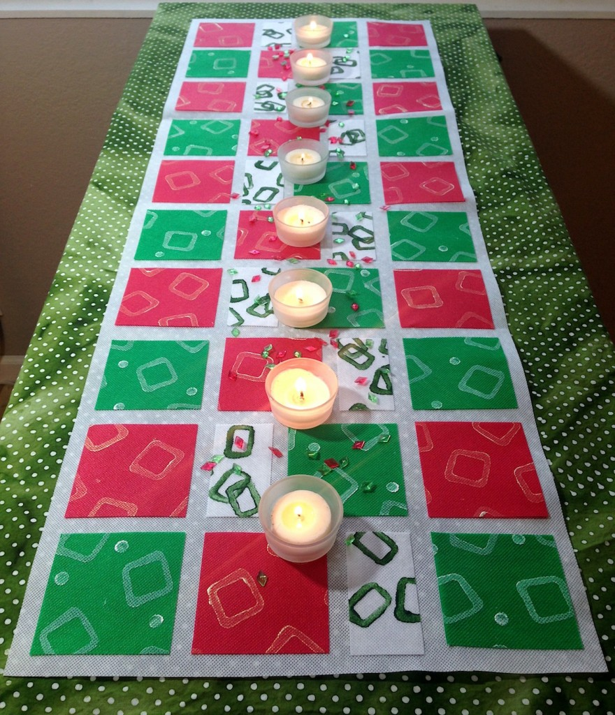 Paint-Stamped No-Sew Table Runner for Christmas