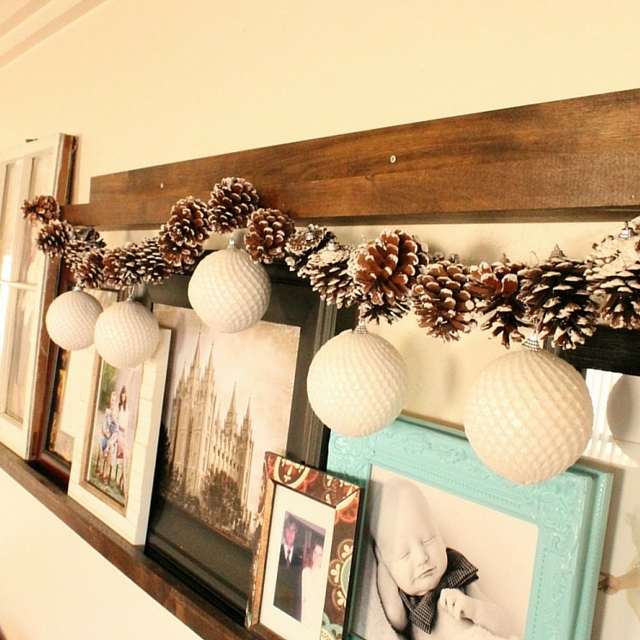 Simple Pine Cone & Ornament DIY Garland
