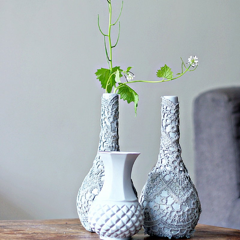Upcycled Lace Vase