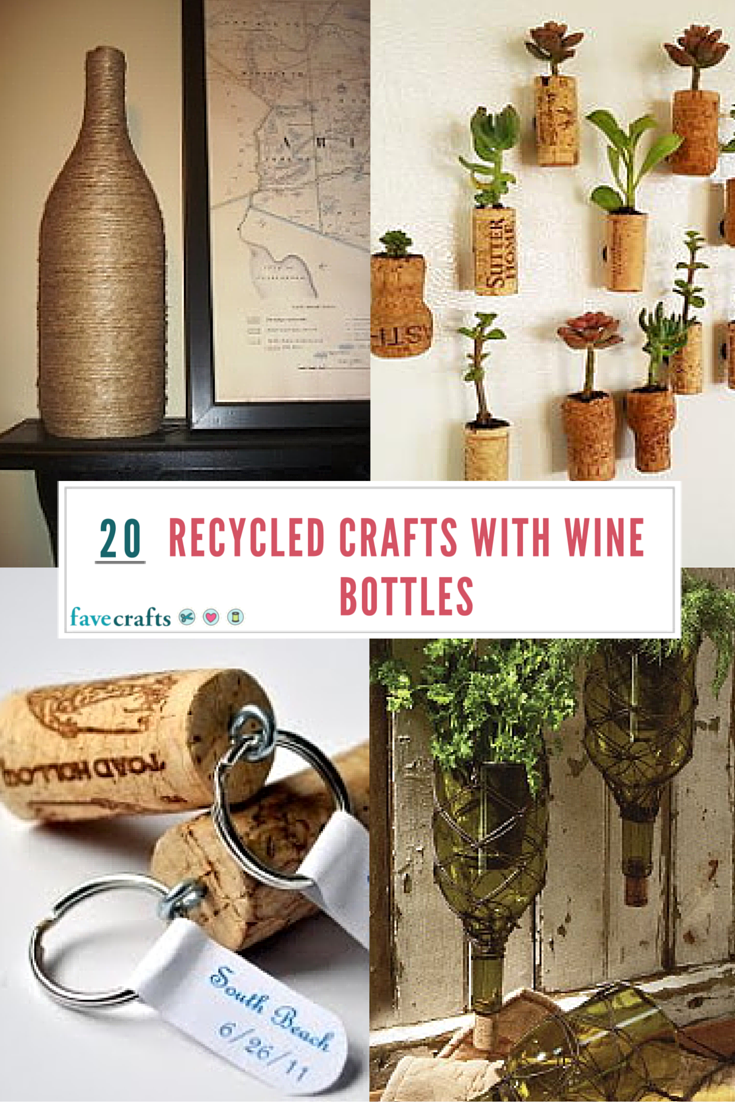 20 recycled crafts with wine bottles favecrafts for Crafts with corks from wine bottles