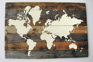 Rustic Pallet Board World Map