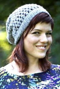 Grey Slouchie Crochet Beanie