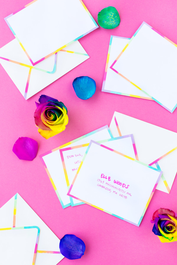 DIY Rainbow Edge Stationery