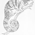 Jewel Chameleon Adult Coloring Page