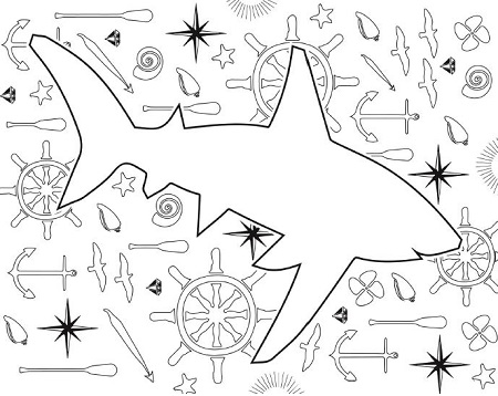 Nautical Shark Coloring Page