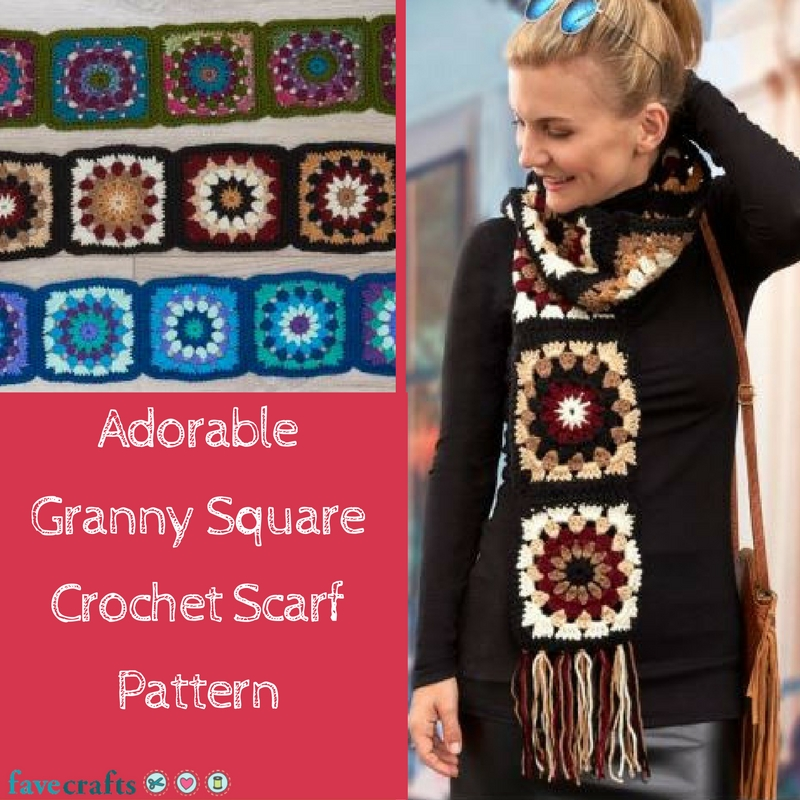 Adorable Granny Square Crochet Scarf Pattern