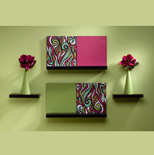 green-and-maroon-wall-art