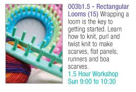 Mikey from The Crochet Crowd is teaching how to use these looms.