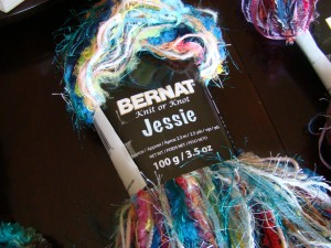 Michael Sellick is showing off his new yarn by Bernat