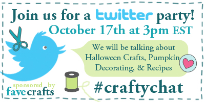 Craft Twitter Party 400px Halloween FaveCrafts Pumpkin Decorating, Halloween, Recipes, and More in This Twitter Party!