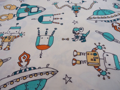 Spacebots print from the Robotic collection by Rebekah Ginda for Birch Fabrics