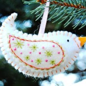 Sewn Birdie Christmas Ornaments