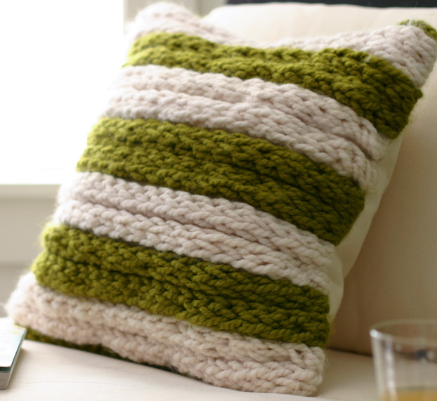Finger Knitted Throw Pillow