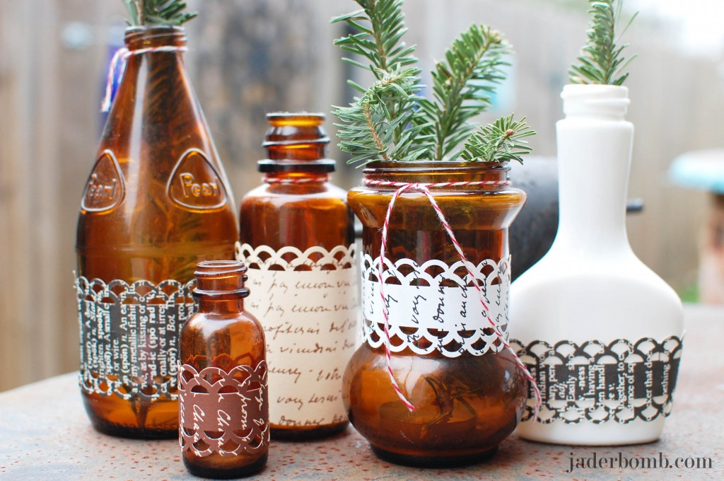 How to decorate glass bottles with fiskars border punches - How to decorate glass bottles ...