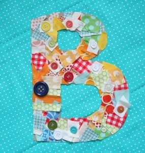 letter scrap craft 285x300 Scrap Happy: More than 15 Kids' Scrap Fabric Projects and Yarn Scrap Projects