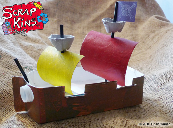 Recycled milk carton pirate ship plus earth week giveaway for Craft model with waste material