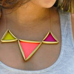 Golden Neon Pyramid Necklace