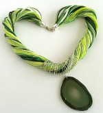 Ribbon, Yarn, and Agate Slice Necklace