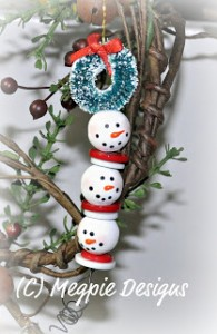 Beaded Snowman Strand 195x300 Whats Hot: Homemade Beaded Christmas Ornaments
