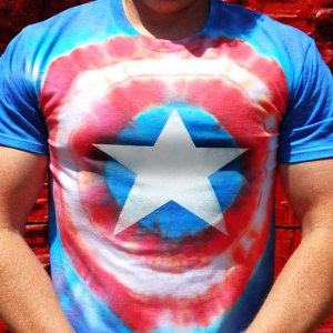 capt america tie dye tee 94 Grown Up Tie Dye Patterns + Giveaway!