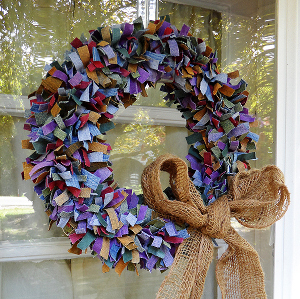 multi colored denim wreath