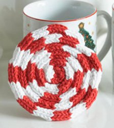 Knit Peppermint Swirl Coaster