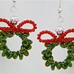 Twin Bead Christmas Wreath Earrings