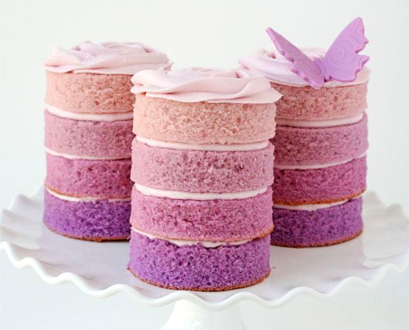 Mini Ombre Wedding Cakes