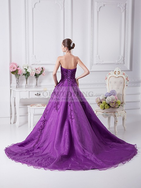 Beaded Appliqued Strapless Organza over Satin Ball Gown 1 17 Ways to Make Radiant Orchid Happen in Your Wedding