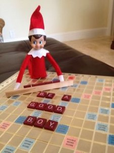 Elf on a Shelf Spells words with Scrabble