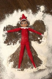 Elf on a Shelf make Snow Angel