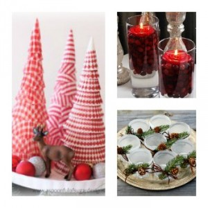 Cupcake Liner Cone Tree, Cranberry Vases, Frosted Votive Centerpiece