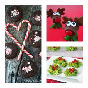 Candy Cane Crumble Nutella Cookies, Rudolph the Red Nosed Reindeer Treats, Holiday Holly Cookies