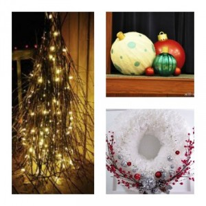 Stick Tree, Giant Ornaments, Winter Coffee Filter Wreath