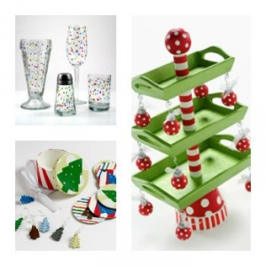 Festive Drinkware, Coaster and Wine Charm Set, 3-Tier Christmas Tray