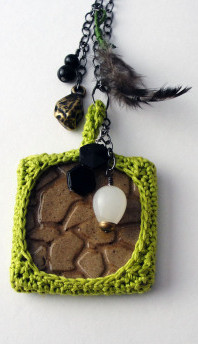 Crochet Bezel Charm Necklace