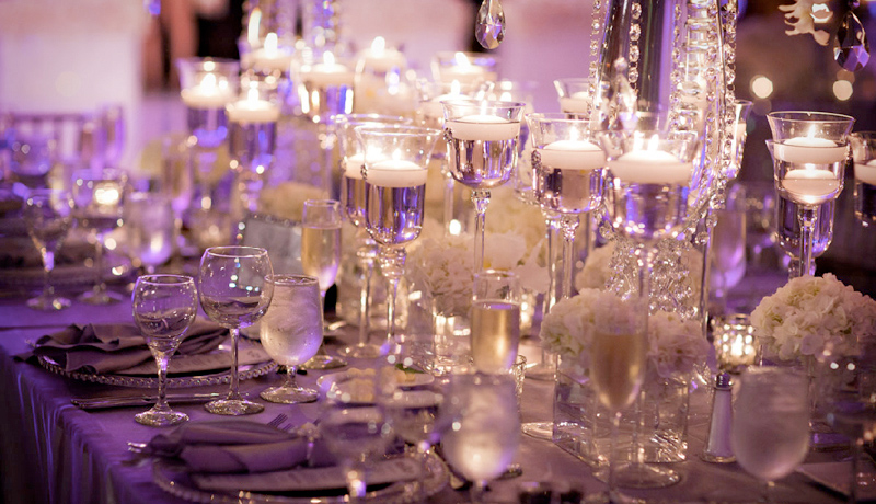 purple wedding setup table 17 Ways to Make Radiant Orchid Happen in Your Wedding