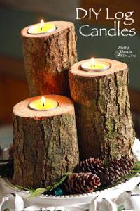 Wood Logs Candle Holders 34 Woodland Wonders