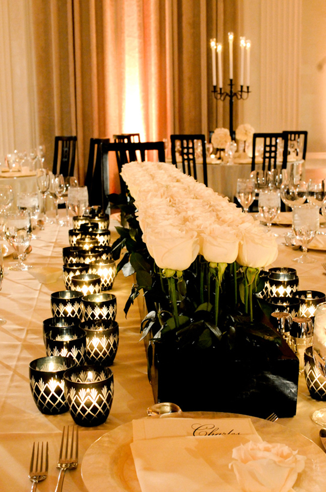 centerpiece black and white modern contemporary low wedding luxury lavish sophisticated 23 Wedding Trends: Opposites Attract