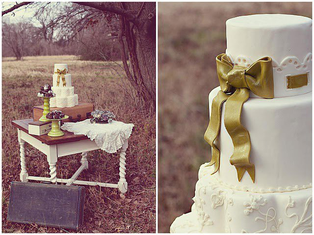 custom wedding cake white fondant lace eyelet detail gold bow Wedding Trends: Opposites Attract